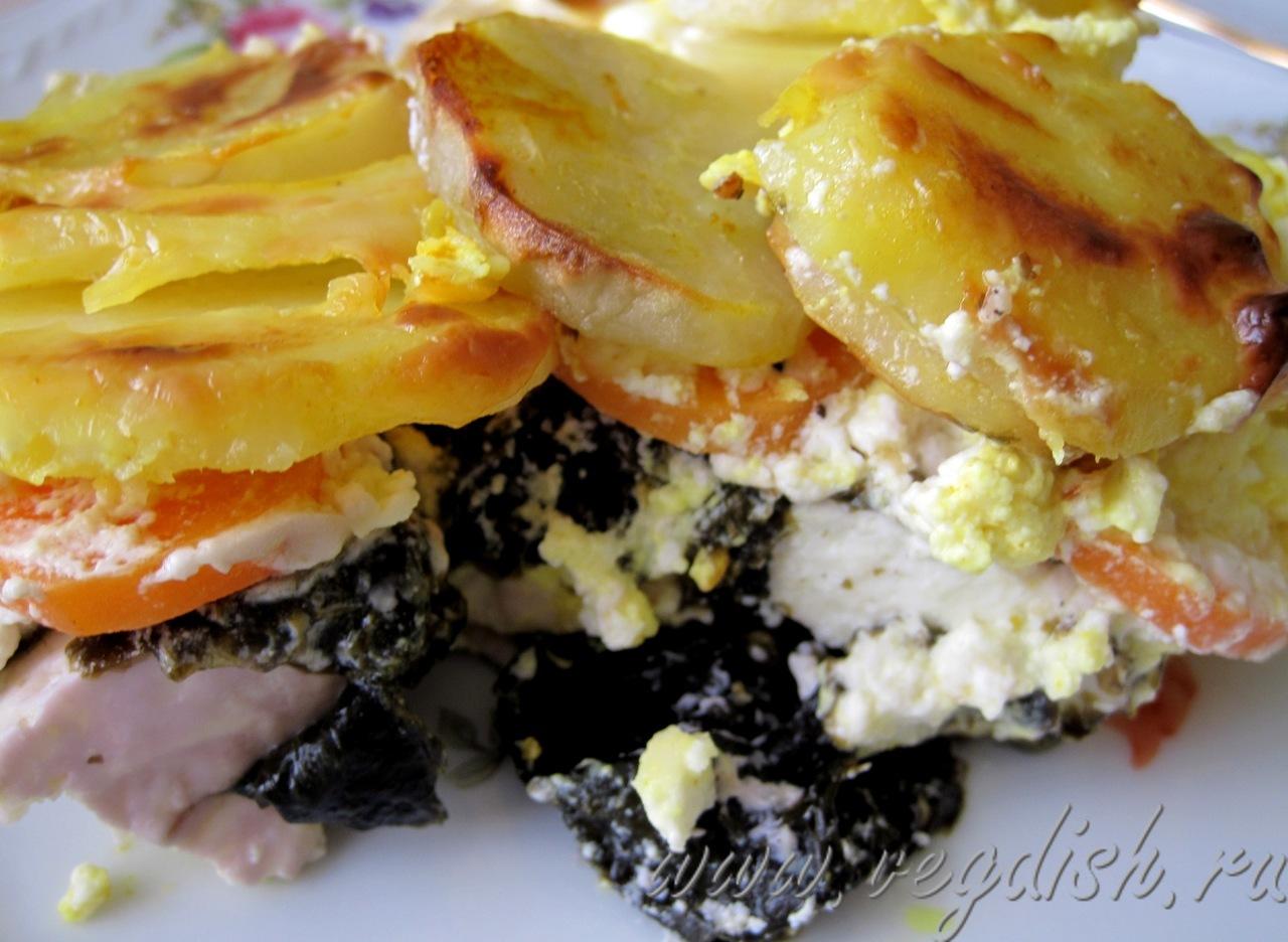 Вегетарианская рыба с картофельной запеканкой