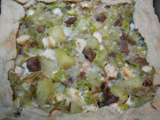 Пирог с картошкой и луком пореем