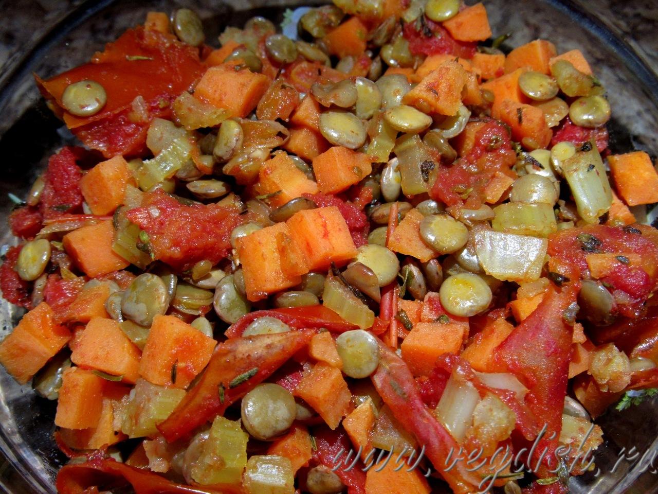 Чечевица с овощами