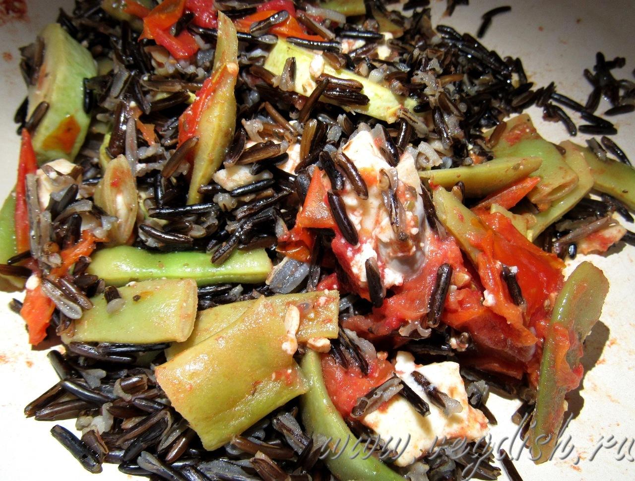 Черный рис с кабачками и стручковой фасолью