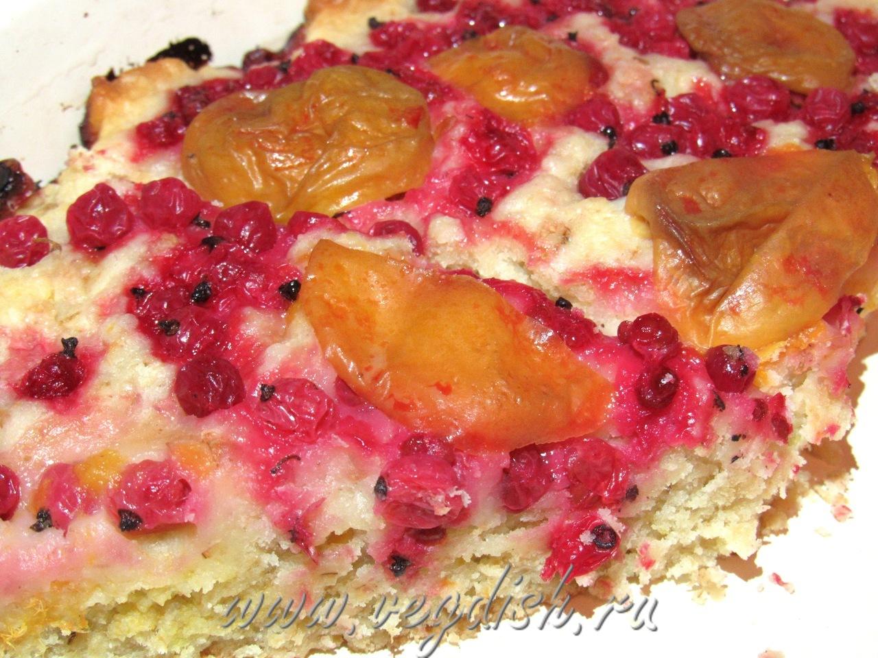 Пирог с абрикосом и красной смородиной