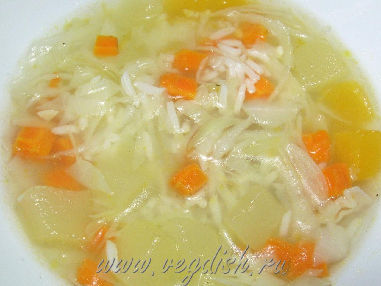 Рисовый суп с тыквой и кабачком