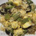 Рис с пряными фасолью и баклажанами