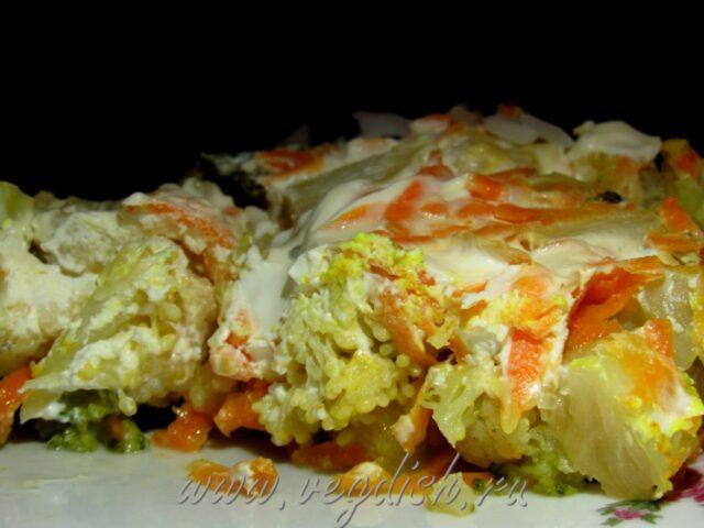 Запеканка из цветной капусты, брокколи и кабачка