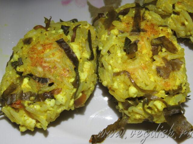 Котлеты из риса и морской капусты