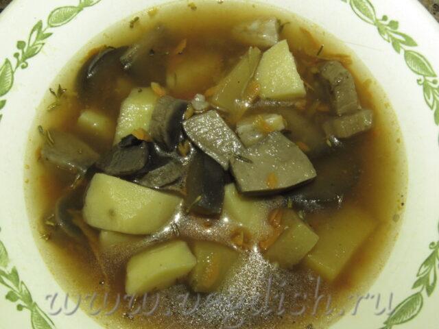 Суп с грибами и баклажанами