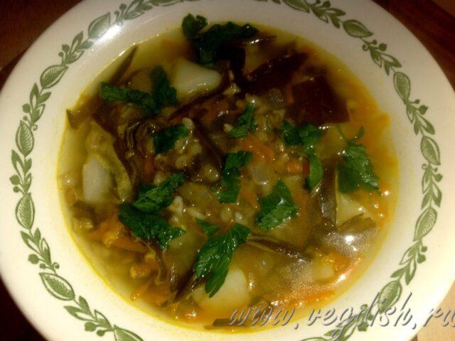 Суп с перловкой и морской капустой