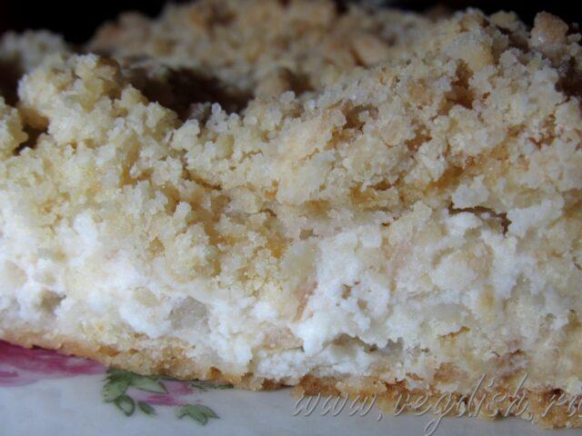 Присыпной яблочный пирог с рикоттой