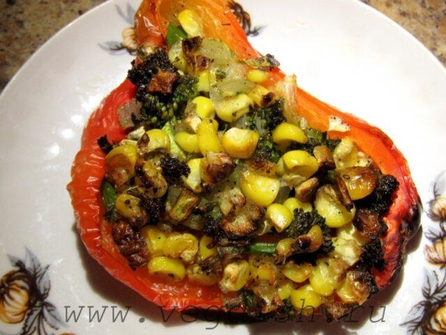 Лодочки из болгарского перца с овощами