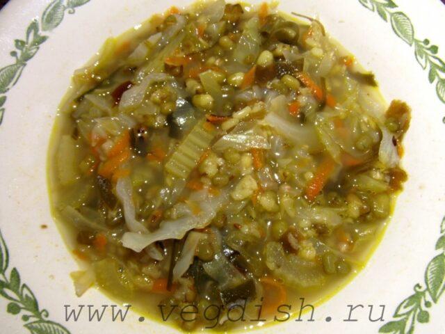 Овощной суп с машем и морской капустой