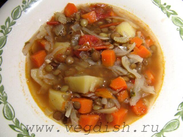 Суп с чечевицей и сельдереем